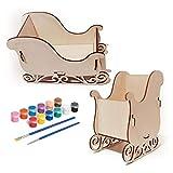 N/A. Kit de decoración de Trineo navideño DIY con Pinceles de Pintura, Manualidades de Madera para niños, niñas, niños, niños pequeños de 3 a 5 años