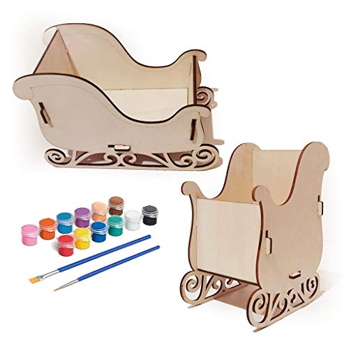 SORECA DIY Christmas Sleigh Decoration Kit with Paints Brushes Wooden Art Crafts for Kids Girls Boys Toddlers Ages 3-5