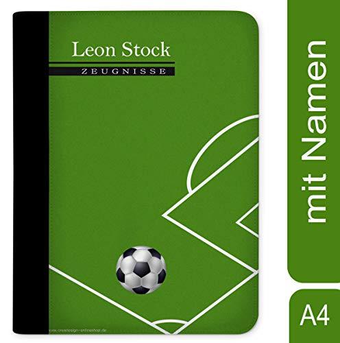 CreaDesign, Z-M-1019 Kinder Zeugnismappe mit Namen personalisiert, Motiv Fußball, A4, 24 x 31 x 1 cm, mit 10 Klarsichthüllen, Rücken schwarz