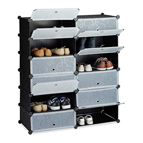 Relaxdays Meuble chaussures fermé rangement 12 casiers plastique chaussures modulable DIY HxlxP: 108x94x37 cm, noir