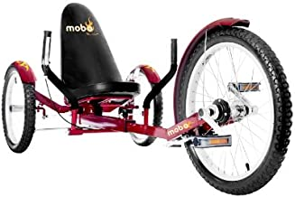 """Mobo Cruiser Triton Pro Recumbent Trike. Adult Beach Cruiser Tricycle for Women & Men. Petal 3-Wheel Bike , Red, 28 x 29 x 48 inches (61"""" extended)"""