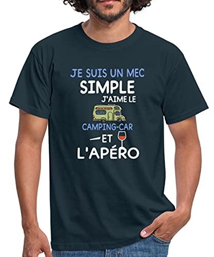 Spreadshirt Je suis Un mec Simple Camping Car et l'apéro Dicton T-Shirt Homme, S, Marine