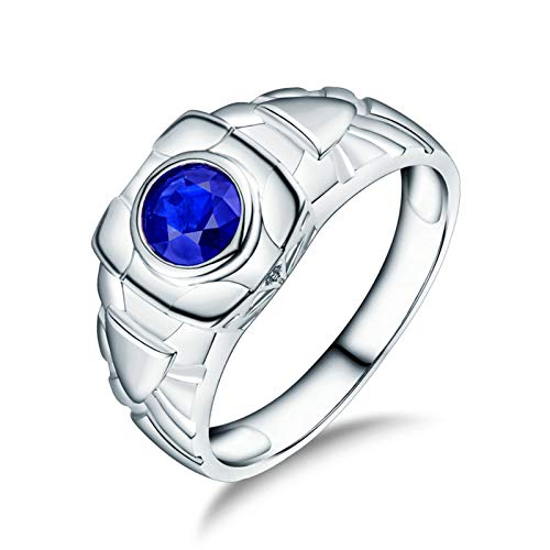 Beydodo Anillos Compromiso Para Hombre,Anillo Oro Blanco Hombre 18 Kilates Plata Azul Redondo Zafiro Azul 1.1ct Diamante 0.03ct Talla 25(Circuferencia 65MM)