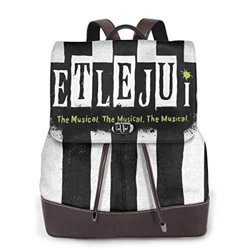 Beetlejuice Damen-Leder-Rucksack, multifunktional, für Schule, Laptop, Büchertasche Schwarz schwarz One Size