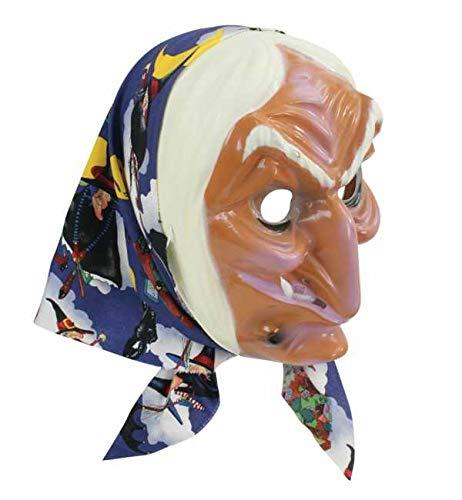 KarnevalsTeufel Hexenmaske mit Kopftuch Halbmaske für Erwachsene Universalgröße Halloweenmaske Gruselmaske Karnevalszubehör Kostümaccessoire Kunstmaske Babajaga