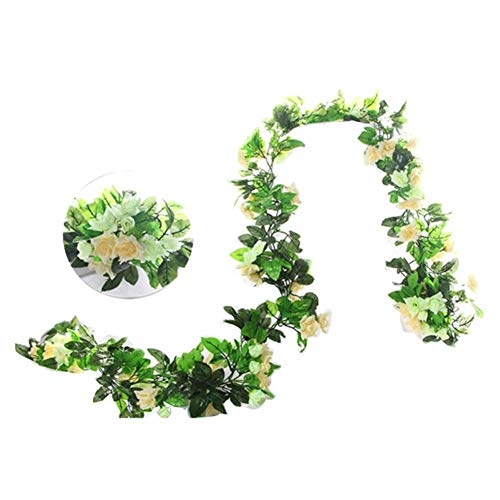 Daliuing 2PCS Artificial Flower Vine Rose White1 Champagne color1 Garland Vine Plant Flower Leaves (2.4M) Perfect for Wall Decoration, Wedding, Bridal,Christmas