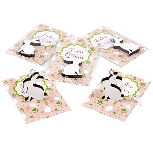 Logbuch-uitgeverij mini-paasgeschenken - paashaas wit met wenskaart Vrolijk Pasen roze groen - Give Away geschenk meegebeld Pasen klanten 5 Stück Vrolijk Pasen kaart roze groen