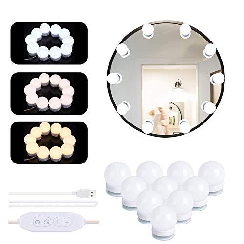 LED Spiegelleuchte, Schminktisch Beleuchtung Hollywood-Stil 10 LED Spiegelleuchte mit 3 Licht Modus und 10 Dimmfunktion für Kosmetikspiegel/Schminktisch/Badzimmer Spiegel