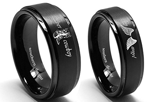 Southern Designs Her Cowboy and His Angel Ring Set (Her 7 and His 13) Black Band