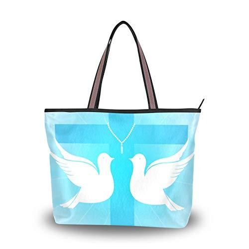 NaiiaN Bolsos de hombro Two Pigeons He Risen Monedero Bolsos de compras Correa liviana para madres Mujeres Niñas Señoras Bolso de mano para estudiantes