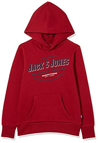 JACK&JONES JUNIOR JJELOGO Sweat Hood 2 COL 21/22 Noos JR Sweatshirt Capuche, Red Dahlia, 14 Ans Fille