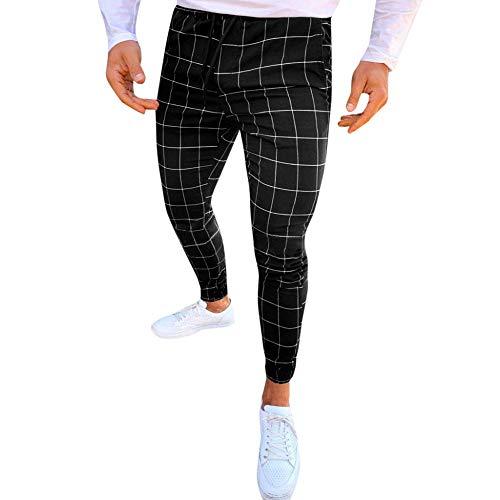 MMUJERY Pantalones Casual para Hombre-Pantalones Largos elásticos Pantalones a Cuadros Casuales de...