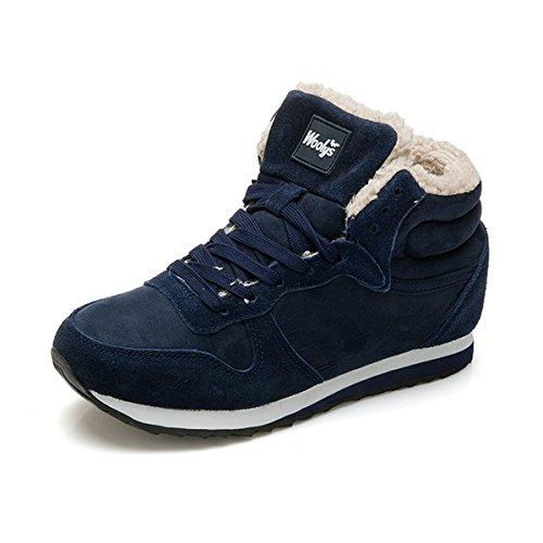 gracosy Herren Damen Sneakers, Turnschuhe Laufschuhe Freizeit Schnürer Sportschuhe Leicht mit Warm Gefüttert Schuhe Winter Dunkelblau 42