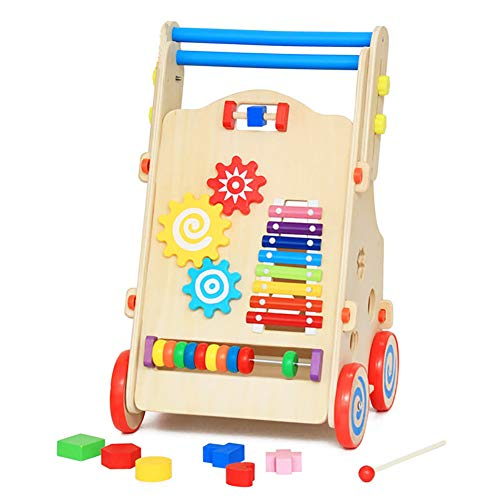 Great Price! ROCK1ON Wooden Baby Learning Walker Toys,Rich Activity Center,Adjustable Height Handle,...