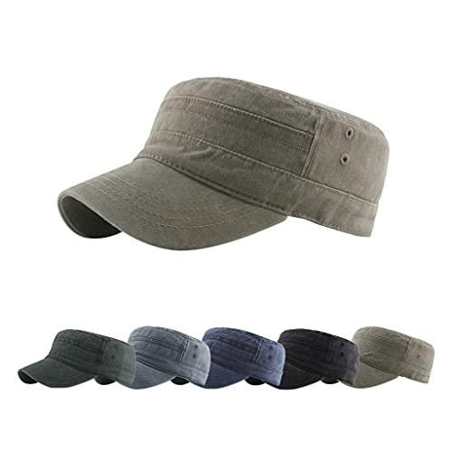 CheChury Gorra Militar para Hombre y Mujer Clásico Adjustable Sombrero Angustiado Unisex 100% Algodón Robusta Visera Sólida Gorra de béisbol Sun Gorra de Senderismo