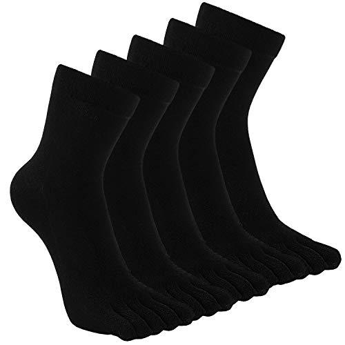 TEENLOVEME® Herren Zehensocken Baumwolle Männer Five Fingers Socken Sport laufende Zehe Socken, Schwarz,5 paar,Gr.39-44