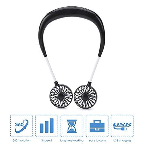 XGYUII Mini Halsopknoping Dubbele Ventilator 360° Gratis Rotatie Beschikbaar Draagbare USB Oplaadbare Ventilator voor Oefening Klimbergen Winkelen