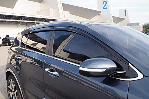 Autoclover D072 Windabweiser für Fenster, rauchfarben, Regenschutz, 4 Stück