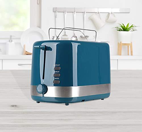 2-Scheiben Automatik-Toaster petrol mit Brötchenaufsatz und 7 Bräunungsstufen , Auftau & Aufwärm Funktion,...