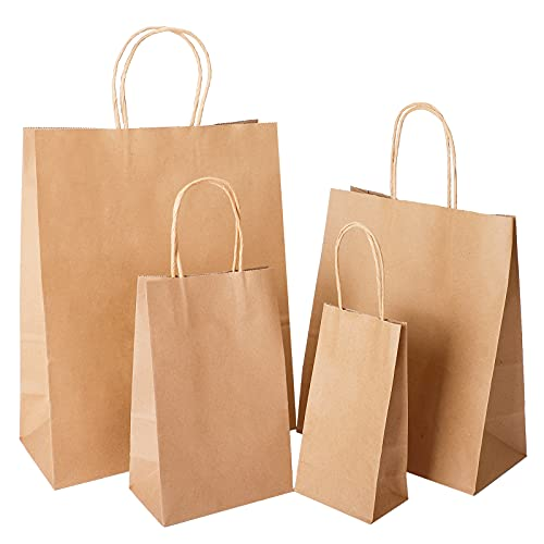 Tomnk 40pcs Kraft Paper Bags with Handles Mixed Size Bags Recyclable Kraft Paper Shopping Bags, Craft Bags, for Gifts, Shopping, Packaging, Merchandise, Grocery and Craft (4 Sizes)
