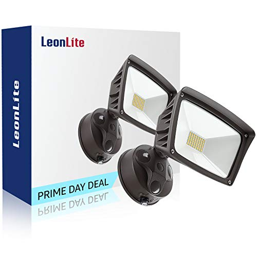 LEONLITE LED Outdoor Flood Light, Dusk-to-Dawn (Photocell Included), 3400lm, Waterproof Security Floodlight, ETL-Listed Exterior Lighting for Yard, 5000K Daylight