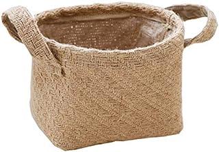 LCM Tressé Jute Tissu Flowerpot Coton draps Organisateur blanchisserie BASKe Basket de Rangement de Bureau de Bureau de Bu...