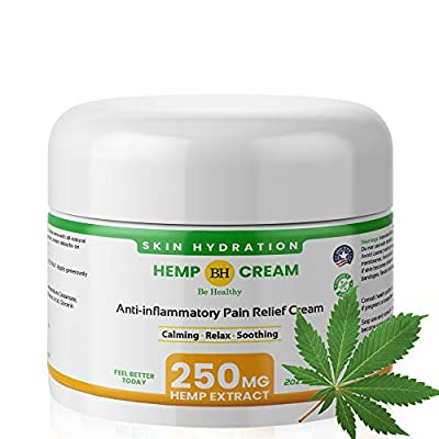 Hemp Extract Cream - 250 Mg - Made in USA - Natural Hemp Pain Relief Cream for Inflammation, Muscle, Joint, Back, Knee & Arthritis Pain - Hemp Salve- Back Pain Relief- Hemp Pain Relief Cream- Non-GMO by Be Healthy
