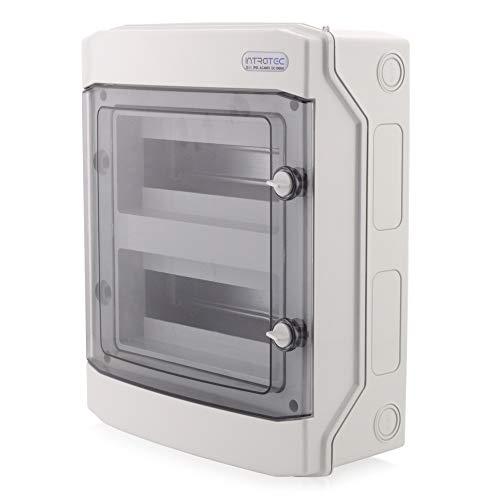 Sicherungskasten Aufputz IP65 Feuchtraum Verteiler Kleinverteiler 2-reihig 24 Module Installation im Garten oder anderen Außenbereichen