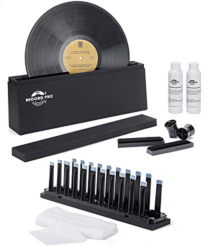 """Vinyl Record Cleaner Spin Kit System, Cleaning Fluid, Drying Rack, Brushes, and Microfiber Cloths for 7"""", 10"""", 12"""" Vinyl Disc"""