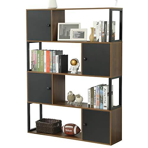 Kemanner 4-Tier Industrial Style Bookcase, Vintage Free Standing Bookshelf, Rustic Wood Bookcases Furniture (4-Shelf -Brown)