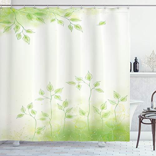 ABAKUHAUS Bosque Cortina de Baño, Hojas Frescas del Botánico Eco, Material Resistente al Agua Durable Estampa Digital, 175 x 180 cm, Verde Suave