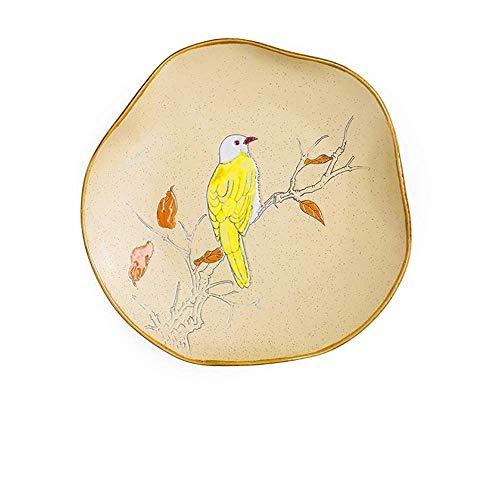 LILICEN Pintado a Mano de Flores y pájaros Puros de cerámica Vajilla Cubiertos Noodle Bowl Plato de Arroz Western Steak Plate Plato de Pescados Placa Amarilla