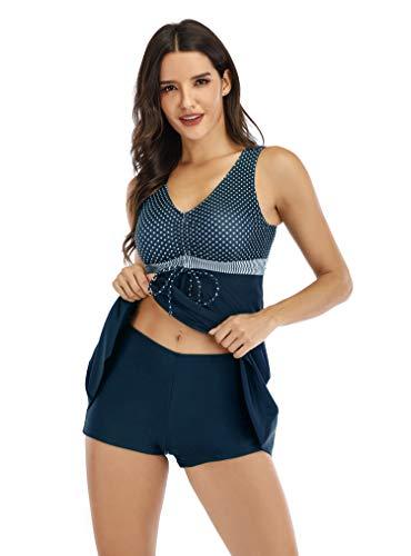 LA ORCHID Laorchid Damen Tankini Set Push up große größen Badeanzug bauchweg Schwimmanzug Zweiteiliger Bademoden mit Boyshorts Navy 4XL
