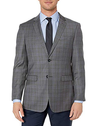 Adam Baker by Douglas & Grahame Men's 43116 Single Breasted 100% Wool Ultra Slim Fit Blazer/Sport Coat - Grey Plaid - 42S