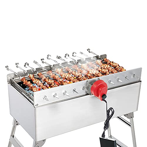 BEM Mangal Schaschlikgrill, Grillset mit Zubehör inkl. Powerbank + Motor, Elektrisch, Edelstahl, Klappbar, Holzkohlegrill mit Spießen