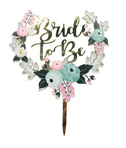 Flower Bride to Be cake topper, wedding Twinkle DIY glitter acrilico colorato a mano per primo compleanno cupcake topper torta Smash candela alternative