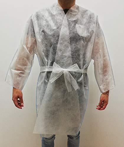 Kimono desechable blanco de TNT 30 g con cordones de 100 unidades envasadas individualmente – para peluquerías, centros estéticos, desmaquilladores