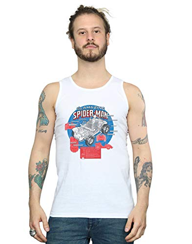 Marvel Hombre Spider-Man Spider-Buggy Breakdown Camiseta Sin Mangas Blanco Small