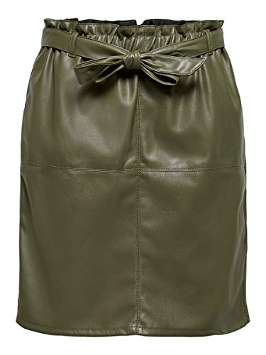 Only ONLRIGIE HW PU Paper Bag Skirt PNT Falda, Tortuga Marina, 40 para Mujer