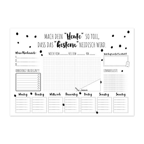 Schreibtischunterlage Scandi XXL DIN A2 Wochenplaner aus Papier Block zum Abreißen – To-Do-Liste Schreibunterlage Abreißblock weiß schwarz