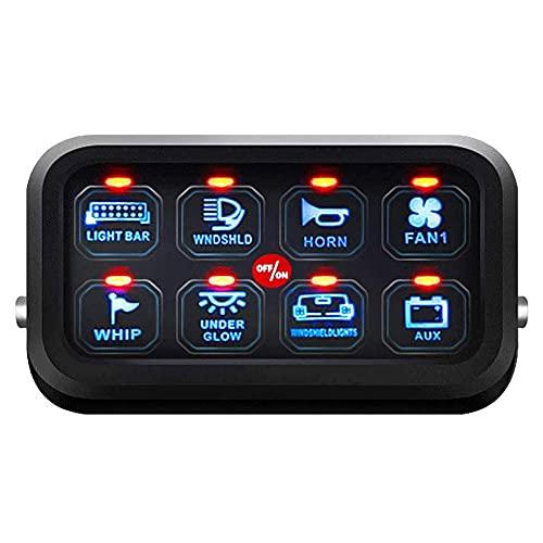 MWEIMA 8 Panel De Interruptores Automáticos Regulables, Sistema De Control De Circuitos del Interruptor De Control del Automóvil, Panel Táctil Delgado Universal con Etiquetas Adhesivas