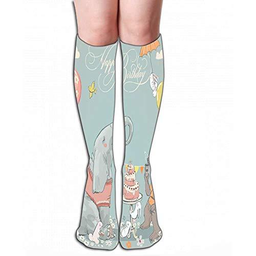 NGMADOIAN mannen vrouwen outdoor sport hoge sokken kous verjaardagskaart schattige beren olifantenhazen tekening tegellengte 19,7 'in (50cm)