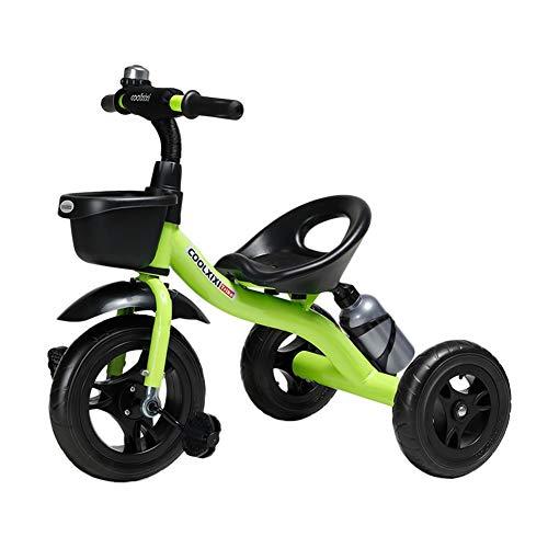 Triciclos Trike Infantil para Niños Pequeños Cochecito para Niños, Bicicleta De Pedales De 3 Ruedas para 2 3 4 5 6 Años De Edad Muchachas Niños, Asamblea Rápida (Color : Verde)