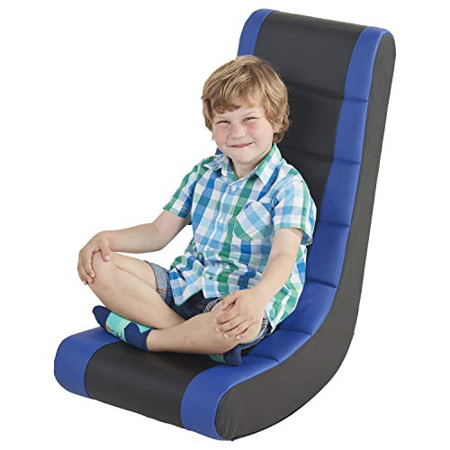 FDP Soft Youth Floor Video Rocker - Cushioned Ground Chair for Kids, Teens - Great for Reading, Gaming, TV, Alternative Seating, in-Home, Rec Room, Classroom - Black/Blue