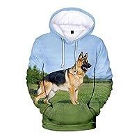 かわいいドイツの羊飼いのプリントポケット付き3Dフーディープルオーバー長袖アウターウェアジャケットスウェットシャツ (Color : G, Size : S)