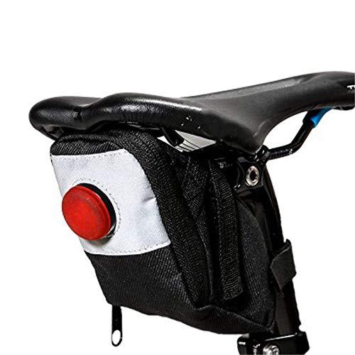 Lisansang Bolsa para Sillín De Bicicleta Bolsa De Sillín De Bicicleta De Ciclismo Resistente Al Desgarro De Sarga Bolsa De Bicicleta Impermeable con Luz Traserapara (Size:A; Color:Black)