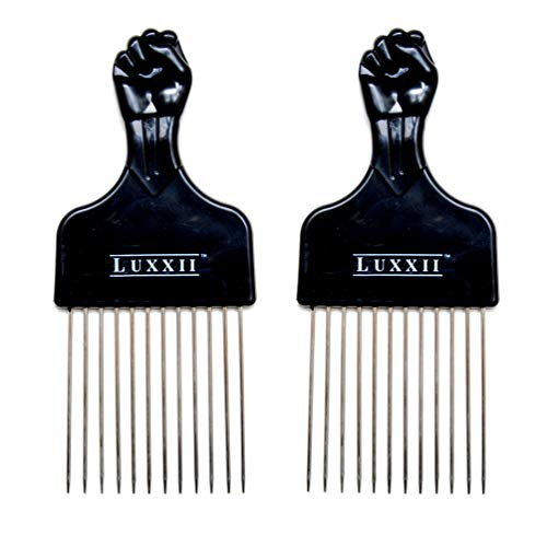 LUXXII (2 Pack) 6.75' Black Fist Metal Afro Pik Lift Hair Comb Detangle Wig Braid Hair Man Styling Comb