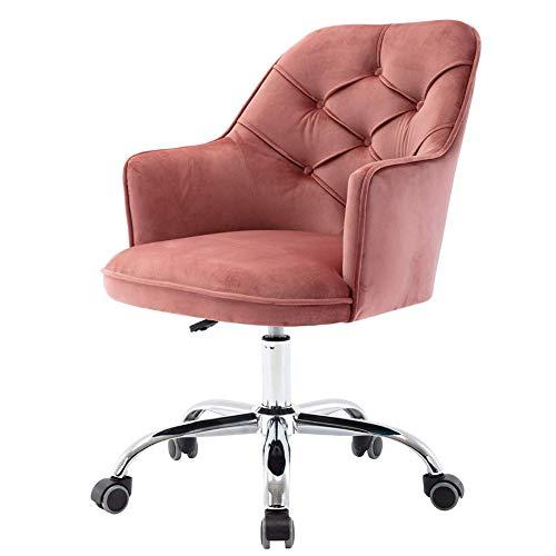 Leder Boss Stuhl, Home Office Stuhl mit silbernen Metallbeinen, Wohnzimmer 360 Grad drehbarer Computer Schreibtischstuhl, ergonomisch verstellbarer Schlafzimmer Vanity Chair Makeup Stuhl, Mid-Bac