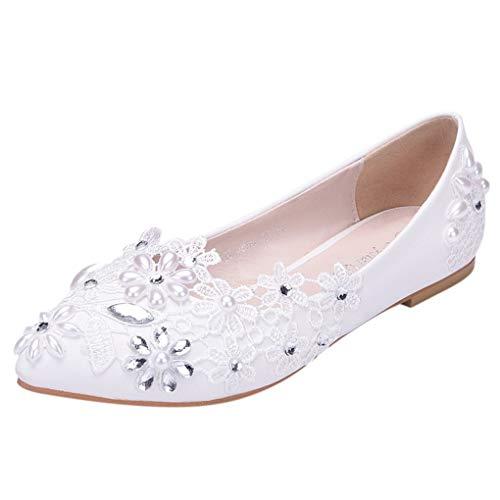 Übergroße Hochzeitsschuhe für Frauen, Damen Weiß Blumen Lace Ballerina Flache Geschlossene Zehe Braut Hochzeit Schuhe,Dorical Pointed Toe Zehen Elegant Flache Brautschuhe 34-43 EU(Weiß,43 EU)