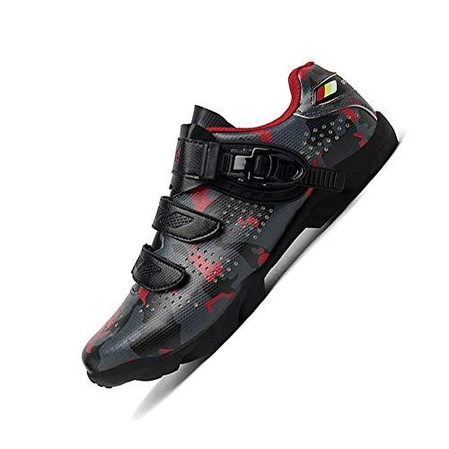 HaoLin Zapatos De Ciclismo Luminosos Zapatillas De Deporte De Bicicleta Moda Profesional Al Aire Libre Antideslizante Autoblocante MTB Shoe Mountain Bike Sport Shoes,Red-43